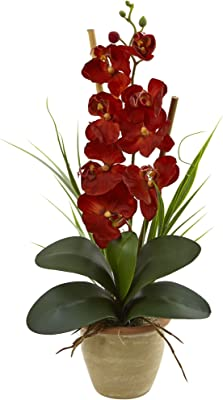 Nearly Natural 1 Phalaenopsis Orchid Harvest Silk Arrangement, Autumn