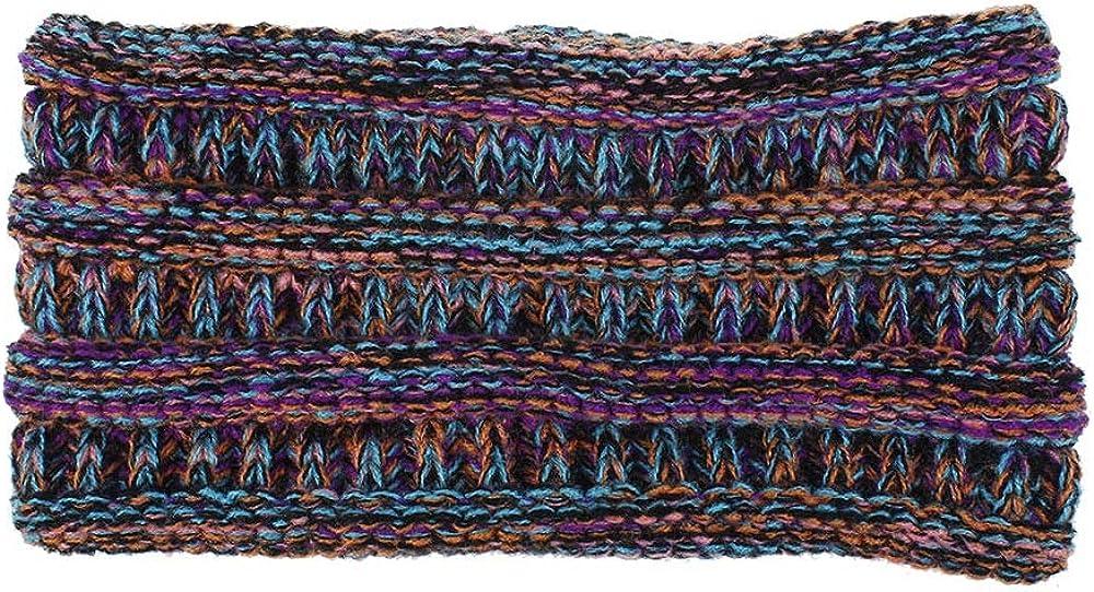 Kalapure Womens Winter Warmer Headband Soft Stretch Cable Knit Head Wrap Messy Bun Ponytail Headband Ear Warmer