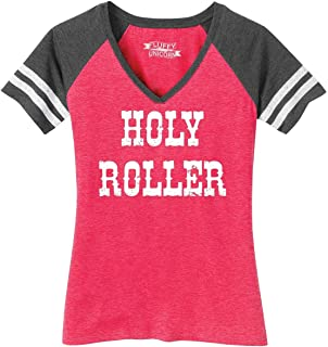 Comical Shirt Ladies Holy Roller Game V-Neck Tee