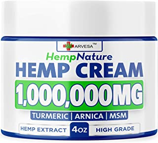 Hemp P??n R?lief Cream - 1,000,000 - Made in USA - 4OZ - R?lieves Muscle, Joint P??n - Lower Back P??n - Hemp Oil Extract with MSM - EMU Oil - Arnica | Turmeric
