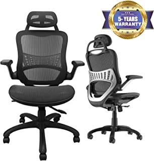 High Back Ergonomic Adjustable Office Chair with Breathable Mesh, Weight Capacity Over 300Ibs Passed BIFMA, Adjustable Headrest, Backrest and Flip-up Armrests, Computer Chair, Executive Swivel Chair