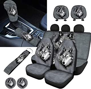 Horeset Gray Wolf Pattern Car Seat Cover Full Set of 11pcs with Lanyards Key Holder/Bottle Holder Pad/Cars Headrest Protector/Gear Shift Knob and Handbrake Cover for Daily Outside Travel