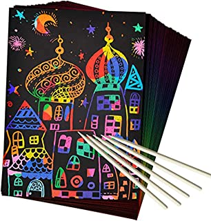 50Pcs Scratch Art Set - Rainbow Magic Scratch Paper Art And Crafts Kit For Kids Black Scratch off Note boards, with 5 Wood...