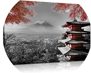 Yinshizhu21 Black White Red Canvas Wall Art Photo Print Fuji Japanese Temple in Autumn Poster for Dining Room Kitchen Wall Decor Dropship,20X30Cm,No Frame