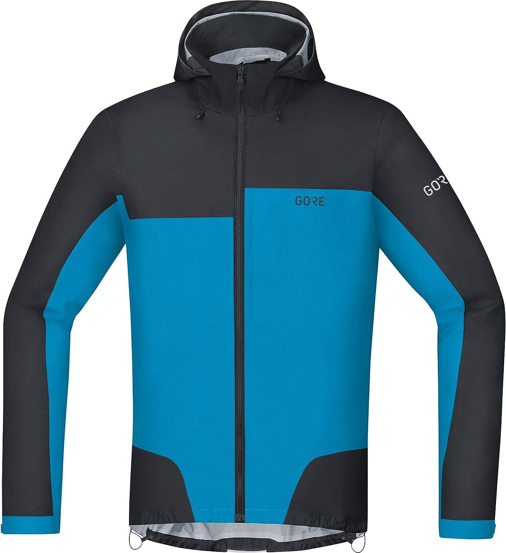 GORE Wear Men's Waterproof Bike Jacket, GORE Wear C5 GORE Wear TEX Active Trail Hooded Jacket, Size  M, color  Black Dynamic Cyan, 100209
