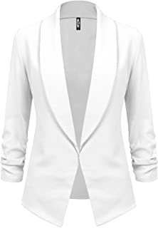 Lock and Love Women 3/4 Sleeve Blazer Open Front Cardigan Jacket Work Office Blazer