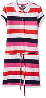 Girls' Adaptive Polo Dress with Magnetic Buttons and Tie Belt