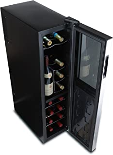 Wine Enthusiast Silent 18 Bottle Wine Refrigerator - Freestanding Slimline Upright Bottle Storage Wine Cooler, Black