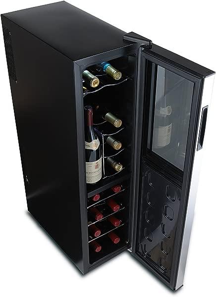 Wine Enthusiast Silent 18 Bottle Wine Refrigerator Freestanding Slimline Upright Bottle Storage Wine Cooler Black