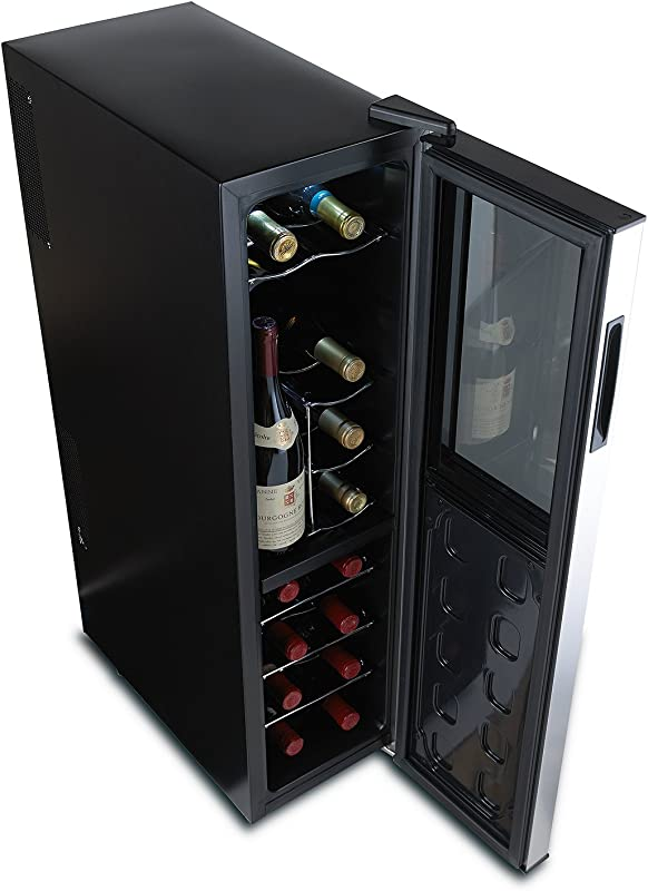 Wine Enthusiast Silent 18 Bottle Wine Refrigerator Freestanding Slimline Upright Bottle Storage Wine Cooler Black