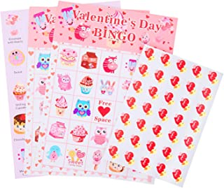 Valentine's Day Bingo Game Cards for Kids Class Party Supplies Activity - up to 24 Players