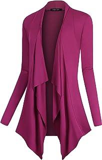 Urban CoCo Women's Drape Front Open Cardigan Long Sleeve...