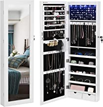 SONGMICS 6 LEDs Mirror Jewelry Cabinet Lockable Wall/Door Mounted Jewelry Armoire Organizer with Mirror, 2 Drawers, Pure White UJJC93W (Renewed)