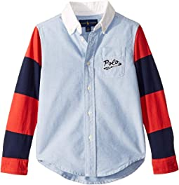 Jersey Sleeve Oxford Shirt (Little Kids/Big Kids)
