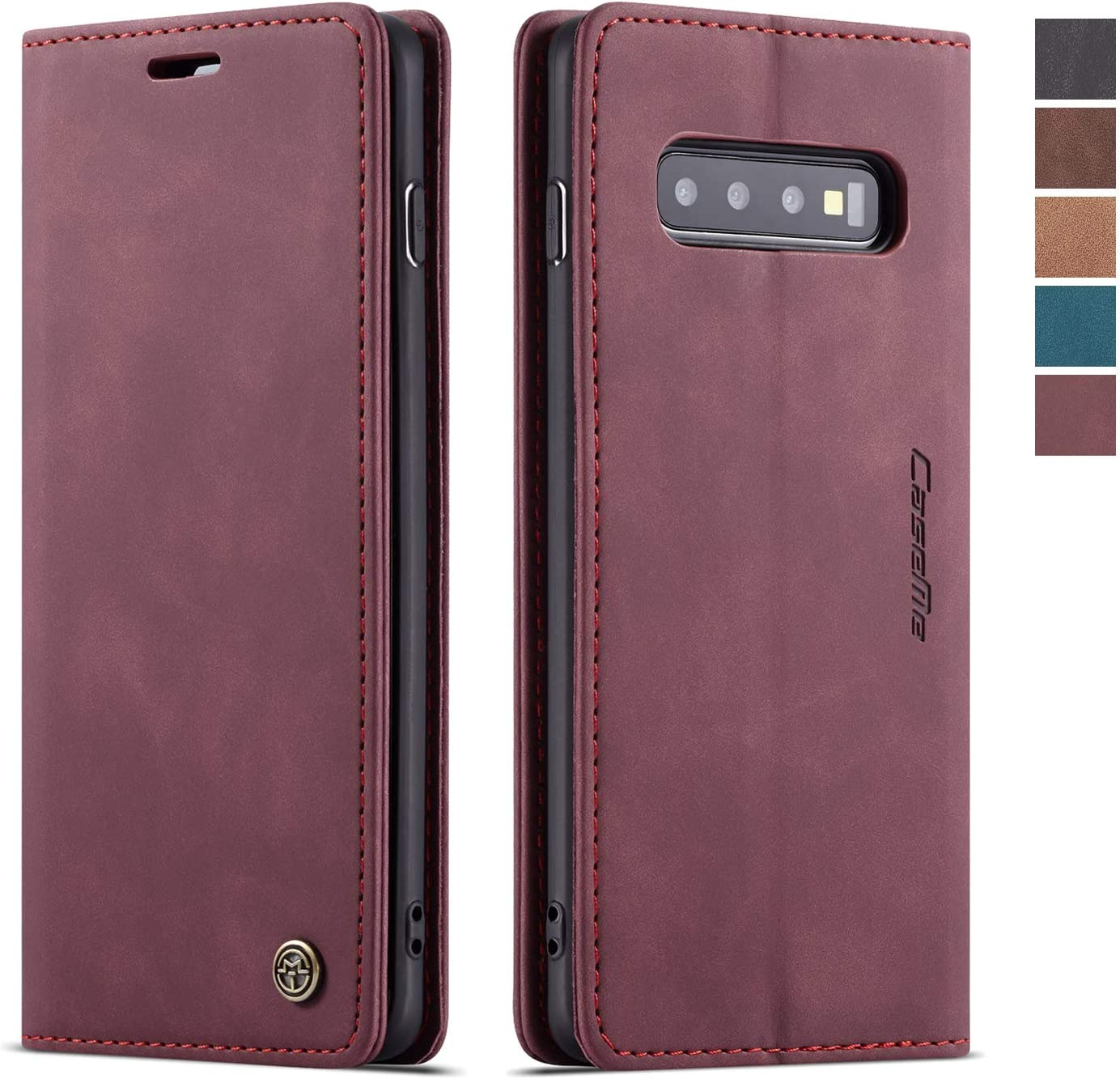 Samsung Galaxy S10 Case,Samsung Galaxy S10 Wallet Case, Magnetic Stand Flip Protective Cover Leather Flip Cover Purse Style with ID & Credit Card Slots Holder Case for Samsung Galaxy S10 (Wine Red)