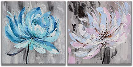 MuYu Art – 20x20 inch x2pcs Abstract Painting Giclee Prints Picture Wall Artwork Painting Blue Pink Flowers Print On Canvas Wood Framed Hanging Picture for Home Modern Decoration (Abstract Flowers)