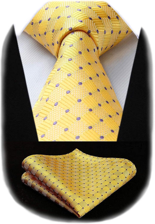 HISDERN Extra Long Plaid Checkered Tie Handkerchief Woven Classic Silk Men's Necktie & Pocket Square Set for Wedding Party