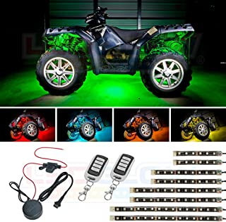 LEDGlow 8pc Advanced Million Color LED ATV UTV Quad 4x4 Accent Underlow Light Kit - 15 Solid Colors - 6 Patterns - Multi-Color Flexible Strips - Includes Waterproof Control Box & 2 Wireless Remotes