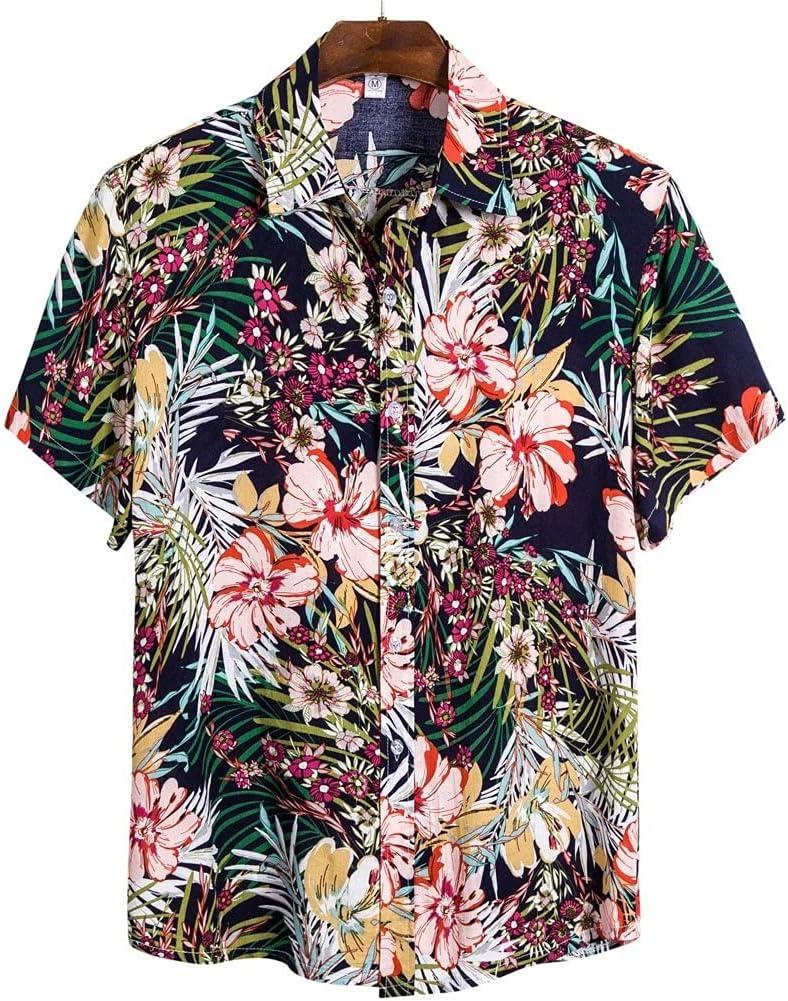 UXZDX Men Hawaiian Some reservation Shirt Printed Sleeve Philadelphia Mall Short Streetwear Lapel L