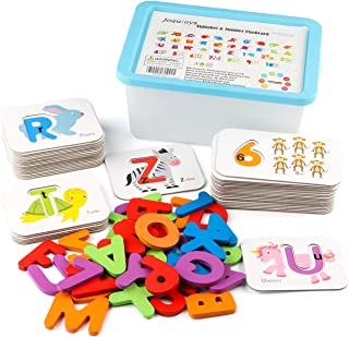 Joqutoys Alphabet and Numbers Flashcards Set, ABC Wooden Jigsaw Puzzle Peg Board Set, Montessori Educational Toys Gift for Kids Toddlers Babies