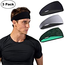 Sport Headbands for Men and Women 3 Packs - Sweatband & Sports Headband Moisture Wicking Workout Sweatbands for Running, Cross Training, Yoga and Bike Helmet Friendly