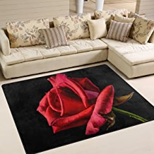 """SAVSV Large Area Rugs 5'3"""" x 4',Red Rose in The Dark Printed Lightweight Non Slip Floor Carpet for Living Room Bedroom Home Deck Patio"""