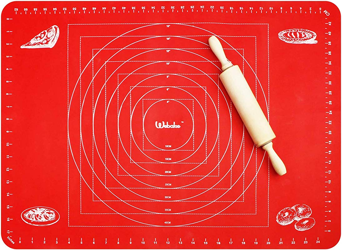 Webake Extra Large Silicone Pastry Baking Mat For Dough Rolling With Measurements 26 X 18 Inch Non Slip Cookie Pizza Pie Mat Baking Sheet Liner Countertop Protector Red