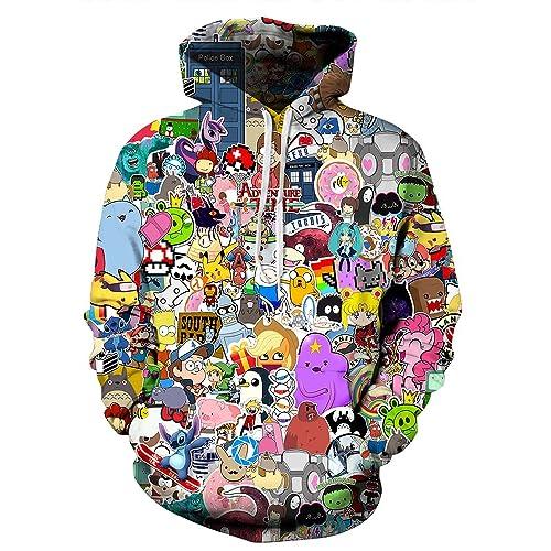 70d341ae4 Indrah Womens' Unisex Realistic Big Pockets Drawstring Hoodie Sweatshirt