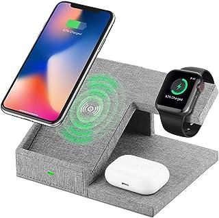 Lecone Supporto Caricatore Wireless 3 in 1 Stand per Apple Watch, Qi Wireless Caricatore Supporto di Ricarica Wireless Doc...
