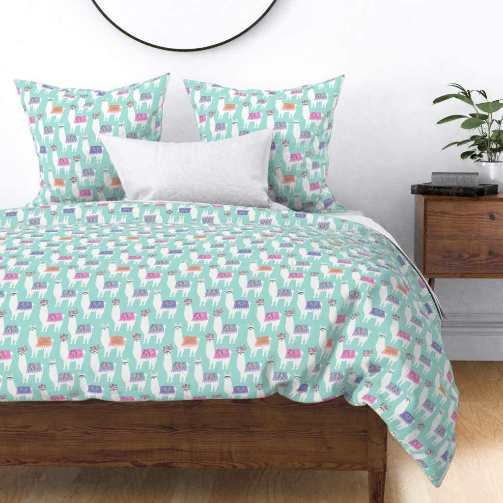 Roostery Spoonflower Duvet Cover In a popularity Llamas Baby Los Angeles Mall Colorful Blue Mint