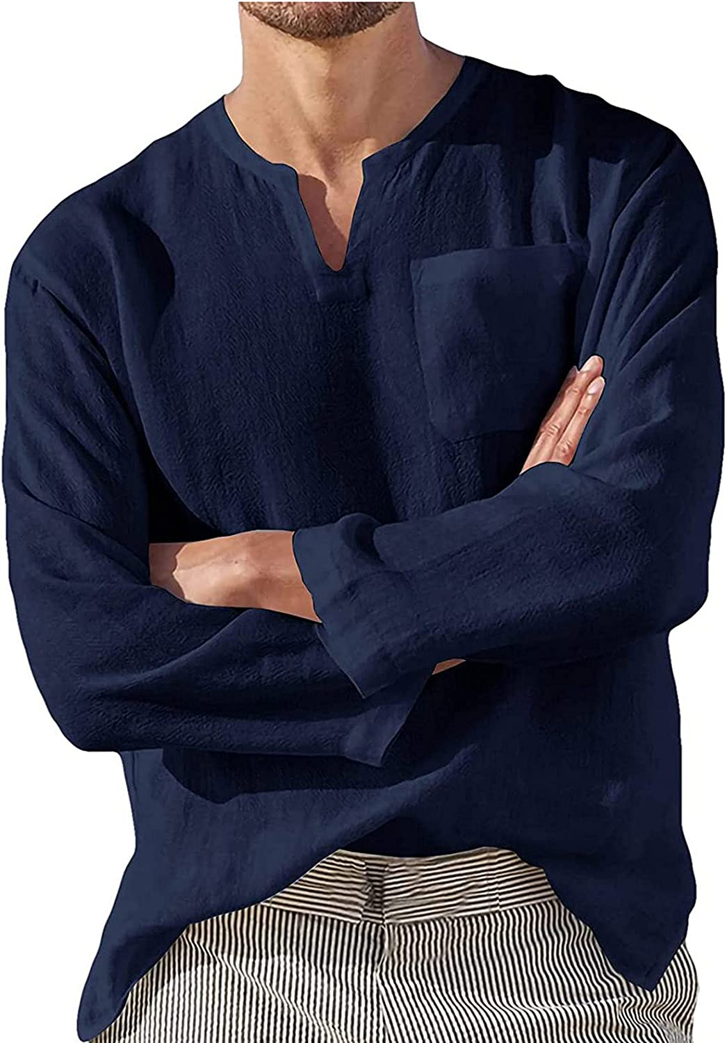 CofeeMO Bravetoshop Men's Baggy Cotton Linen Henley Shirts Casual Loose Fit V Neck Long Sleeve Tops