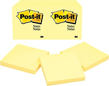 Post-it Notes 3 in x 3 in, 12 Pads, America's #1 Favorite Sticky Notes, Canary Yellow, Clean Removal, Recyclable (654)