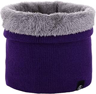 CRUOXIBB Winter Double-Layer Neck Warmer for Men Women Soft Fleece Lined Thick Knit Circle Loop Scarf