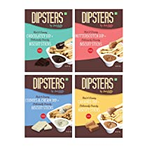 Snackible Dipsters Biscuit Sticks & Dip – Assorted Pack of 4 Flavours (5 Packets) | Chocolatey (2), Butterscotch, Caramel, Cookies & Cream | 5x30gm | Baked | Biscuit&Dip | Mixed Flavors | Creamy Dips
