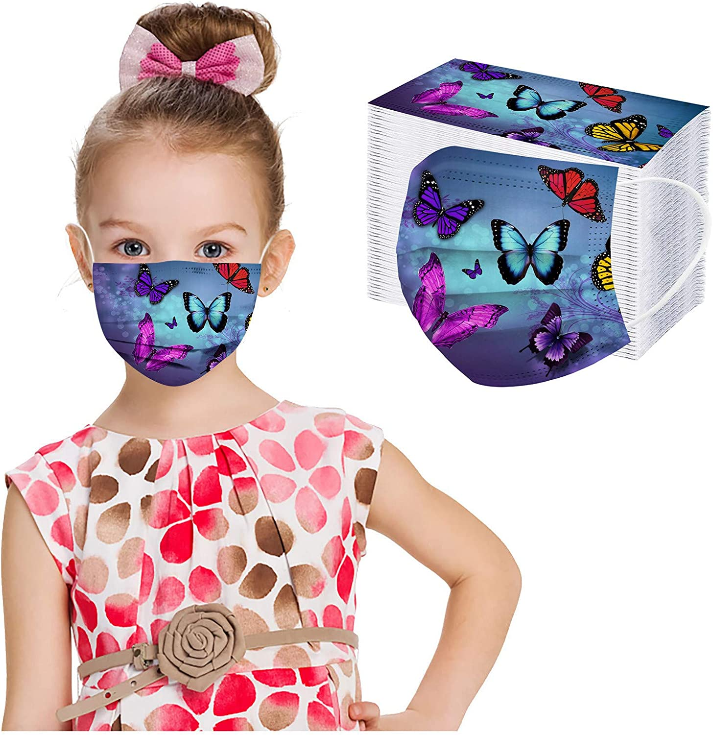Kids Disposable 3 Ply Breathable & Comfortable Face Mouth Filter Tools for Children Colorful Cartoon Design