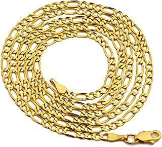 14K Yellow Gold 2mm Solid Figaro Chain Necklace, Available in 16 to 24 inches