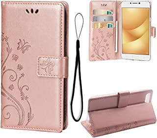 Wallet Case for Asus Zenfone 4 Max ZC520KL(5.2inch), 3 Card Holder Embossed Butterfly Flower PU Leather Magnetic Flip Cover for Asus Zenfone 4 Max ZC520KL(5.2inch)(Rose Gold)