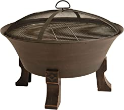 Bluegrass Living BFPW26D-CC 26 Inch Cast Iron Deep Bowl Fire Pit with Cooking Grid, Weather Cover, Spark Screen, and Poker...