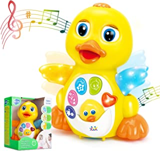 HOLA Dancing Walking Yellow Duck Baby Toy with Music and LED Light Up for Infants, Toddler Interactive Learning Developmen...