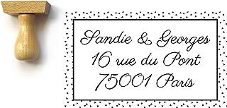 Timbro indirizzo personalizzato, personalizzato, rettangolo con piccoli triangoli 5 x 3 cm