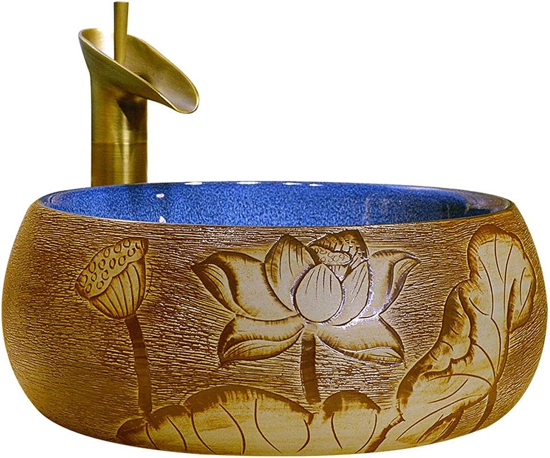YLYWCG Aufsatzbecken Rundes Keramikwaschbecken, Aufsatzwaschbecken Aus Keramik, Badezimmer, Glnzend , 38X15 cm (Wasserhahn Nicht Inbegriffen)
