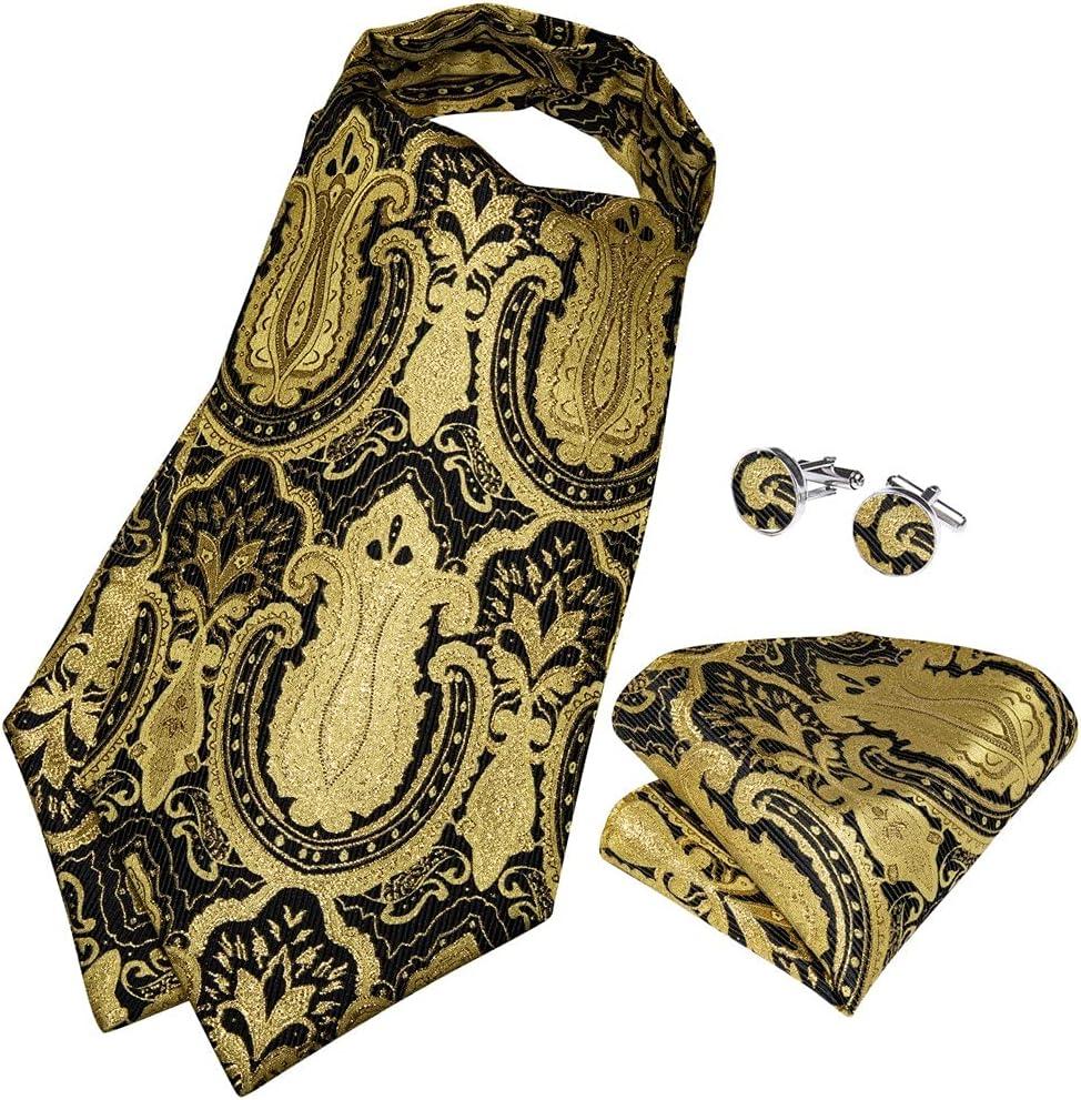 XJJZS Men Vintage Yellow Black Wedding Formal Cravat Scrunch Self British Style Gentleman Silk Tie Set (Color : Gold Ring, Size : One Size)