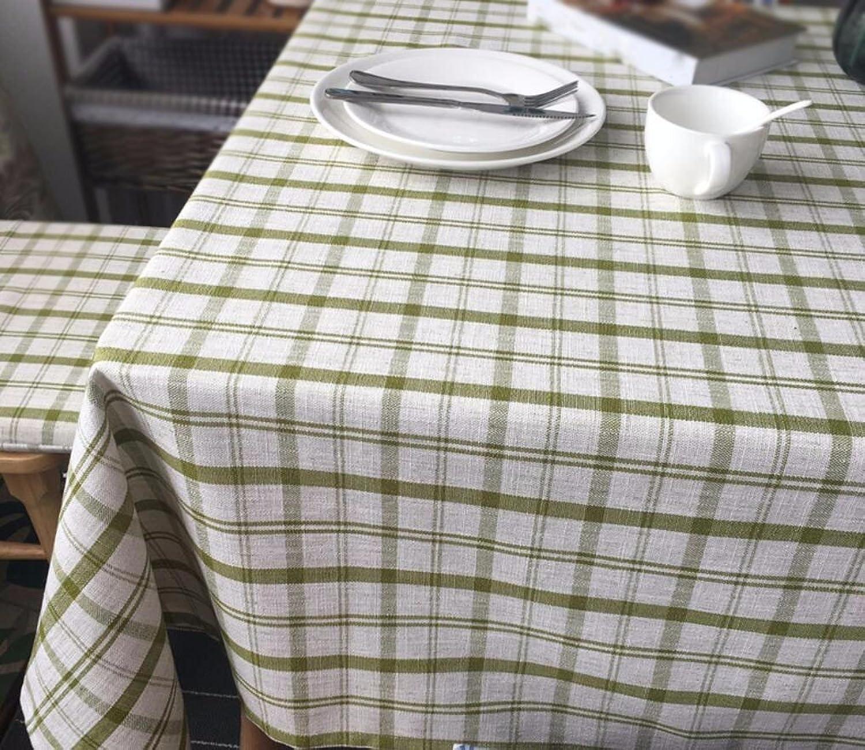 WFLJL Tischdecke Verdickung Couchtisch Esstisch Baumwolle und Leinen Schreibtisch Grün Lattice 60  60cm