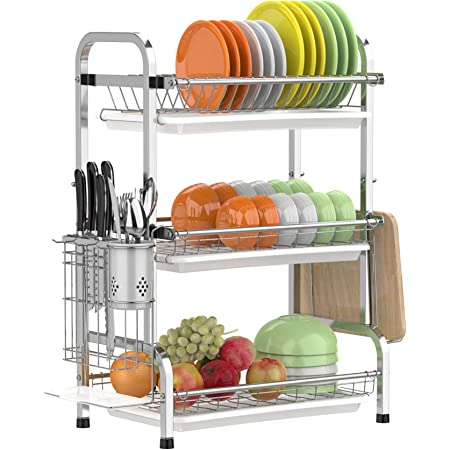 Dish Drying Rack Gslife Stainless Steel 3 Tier Dish Rack With Trays Utensil Holder Rustproof Dish Drainer For Kitchen Counter Silver