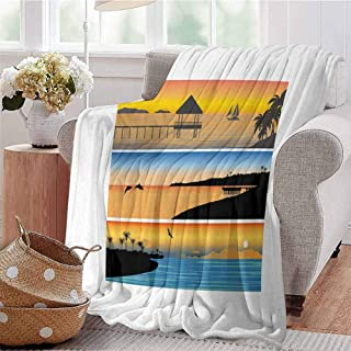 Luoiaax Beach Bedding Flannel Blanket Tropic Island Pattern with Horizontal Banner Style Composition Dolphins Birds Boats Super Soft and Comfortable Luxury Bed Blanket W91 x L60 Inch Multicolor