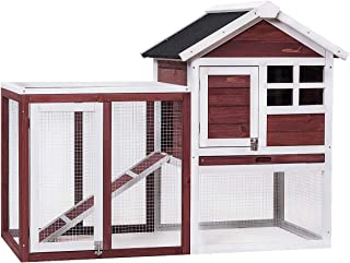 Tangkula Large Chicken Coop Wooden Rabbit Hutch Outdoor Garden Backyard Hen House Wood Pet House Poultry Cage with Outdoor Run(Natural/Red-Brown)