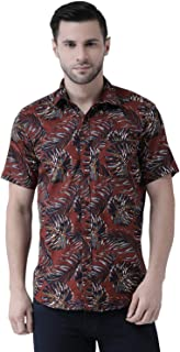 Zeal Mens Half Sleeve Floral Printed Cotton Regular Fit Smart Maroon Beach Wear Shirt
