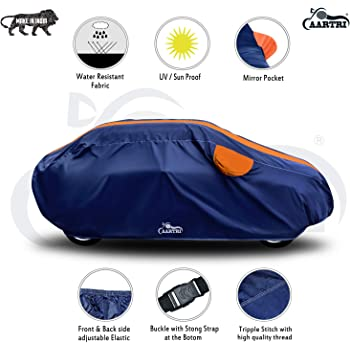 VIRMANG Hard Triple Stitched Fully Elastic Ultra Surface Body Protection with Water Resistant Car Cover for Audi A4 (Strips Orange with Mirror Pockets)