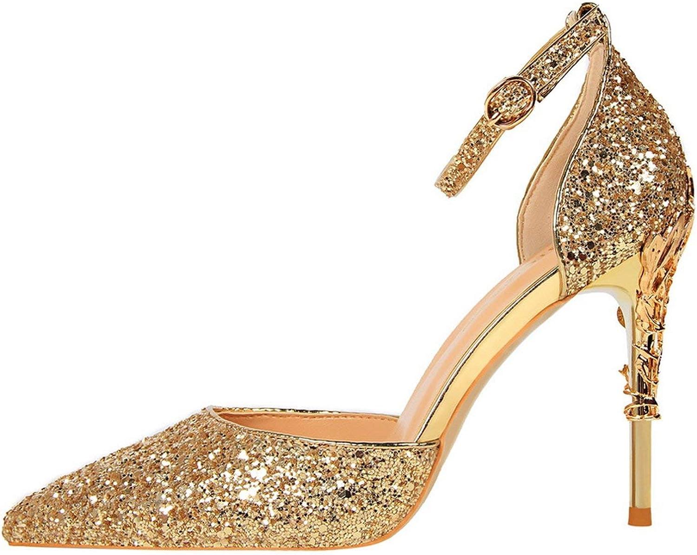 Women 10Cm Sandals Wedding Scarpins Metal Heels Sandals Strap Bridal Glitter gold Pumps