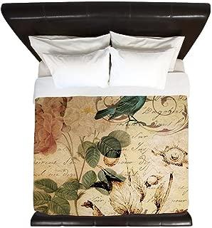 CafePress Teal Bird Vintage Roses Swirls Botanica King Duvet Cover, Printed Comforter Cover, Unique Bedding, Microfiber